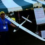 model glider with LED light strips