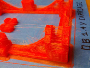 3D Printer OB 1.4 stringy Y-Carriage in PLA Closeup (zero retraction)