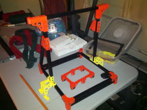 OB 1.4 DIY 3D Printer with Black Open Beam Partially Complete